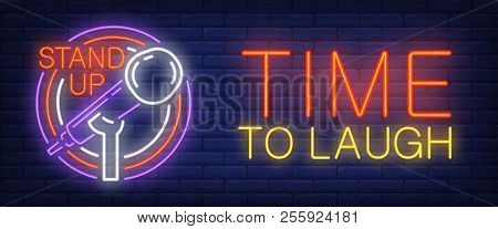 Time To Laugh Neon Sign. Glowing Stand Up And Mike In Circle Frame On Brick Background. Night Bright