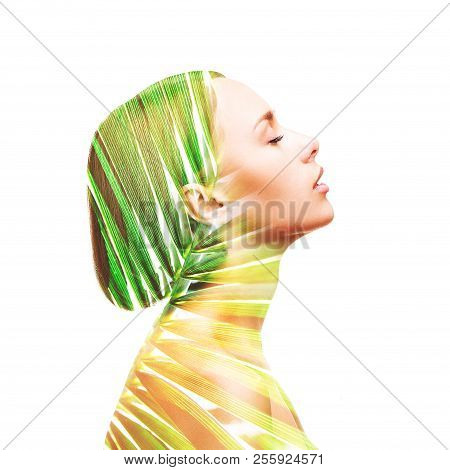Double Exposure Made Of Beautiful Woman And Palm Leaf, Isolated. Natural Skin Care Concept.