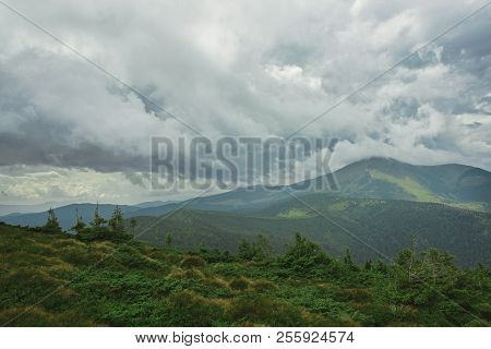 Beautiful View Of Mountains Landscape. Chornohora Mountain Ridge From Slopes Of Hoverla Mountain