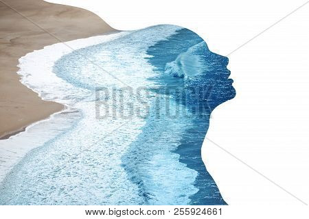 Double Exposure Made Of Young Nude Beautiful Woman With Healthy Skin And Ocean Coast. Beauty Of Woma