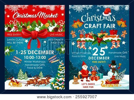 Christmas Fair Poster Design Of Santa And Snowman In Sleigh With New Year Gifts Bag. Vector Christma
