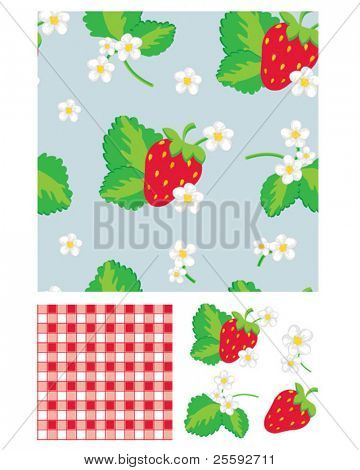 Pretty strawberry patterns. Use to print onto fabric for home baking or as backgrounds or other décor projects.