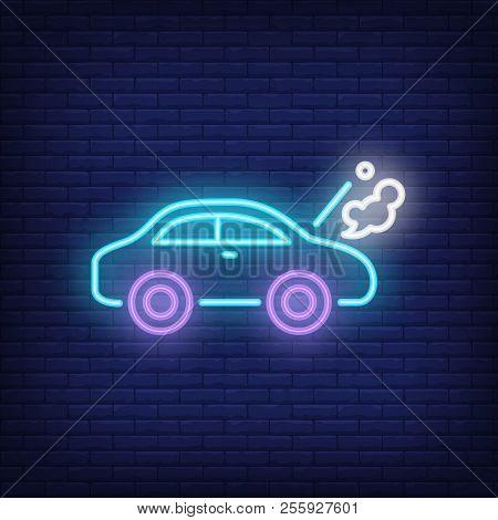 Broken Car Neon Sign. Luminous Signboard With Road Accident. Night Bright Advertisement. Vector Illu