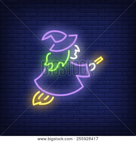 Witch Neon Sign. Luminous Signboard With Sorceress. Night Bright Advertisement. Vector Illustration