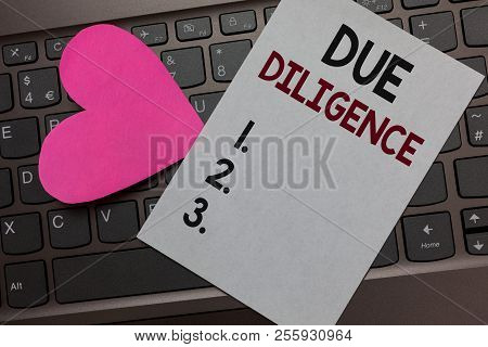 Handwriting text Due Diligence. Concept meaning Comprehensive Appraisal Voluntary Investigation Audit Paper Romantic lovely message Heart Keyboard Type computer Good feelings. poster