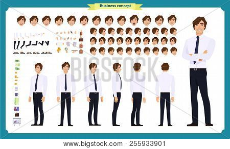 People Character Business Set. Front, Side, Back View Animated Character.   Businessman Character Cr
