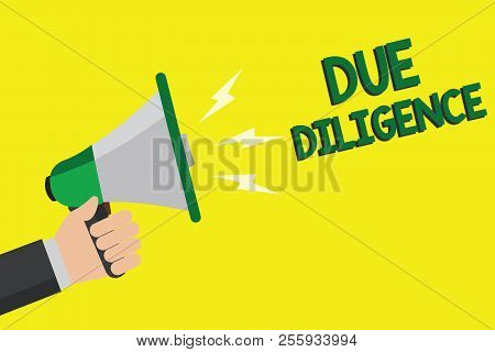 Text sign showing Due Diligence. Conceptual photo Comprehensive Appraisal Voluntary Investigation Audit Man holding megaphone loudspeaker yellow background message speaking loud. poster