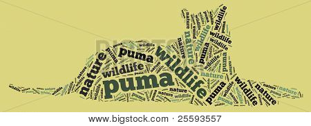 Textcloud: silhouette of puma