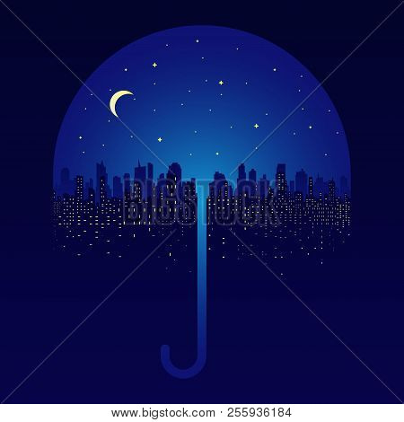 Night City Silhouette. Cloudy Sky, Full Moon And Night City Silhouette. Autumn Landscape In A Cloudy