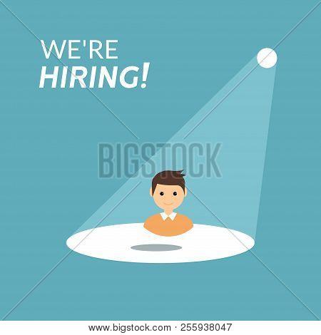 Career Recruitment Or Hiring Vector Concept. Spotlight Looking Job, Hiring Employment.