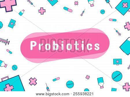 Probiotics Bacteria Logo. Prebiotic, Lactobacillus Vector Icon Design. Medical Icons Vector Seamless