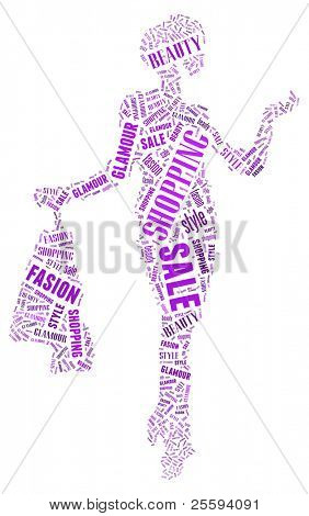 Wordcloud: silhouette of happy woman with purchases