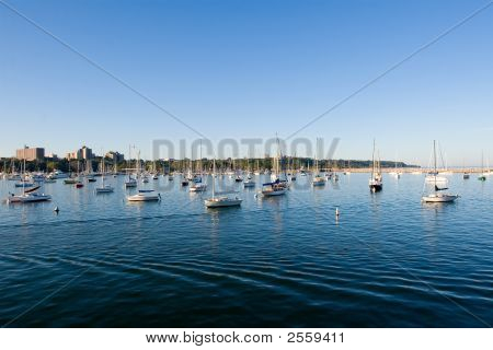 Half Water, Boats And Sky