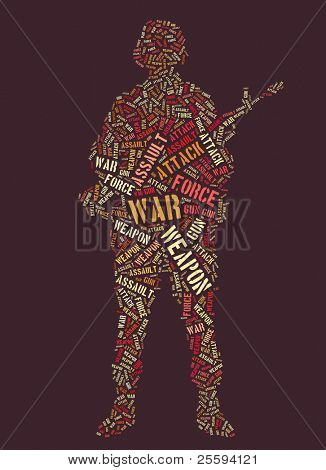 Wordcloud: soldier with rifle of war words
