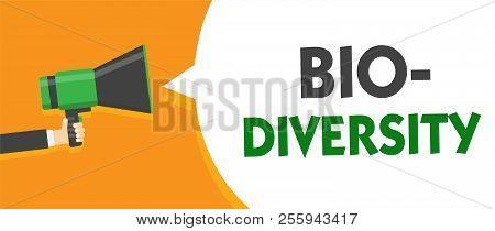 Handwriting text Bio Diversity. Concept meaning Variety of Life Organisms Marine Fauna Ecosystem Habitat Man holding megaphone loudspeaker speech bubble message speaking loud. poster