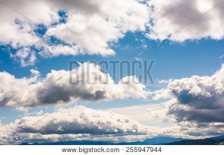 Beautiful Cloudscape On A Blue Sky. Wonderful Autumn Background