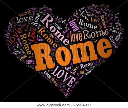 Wordcloud: love heart of city Rome
