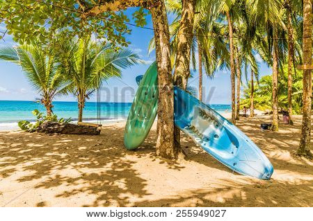 Punta Uva, Puerto Viejo, Costa Rica. March 2018. A View Of Canoes On The Beach At Punta Uva In Costa
