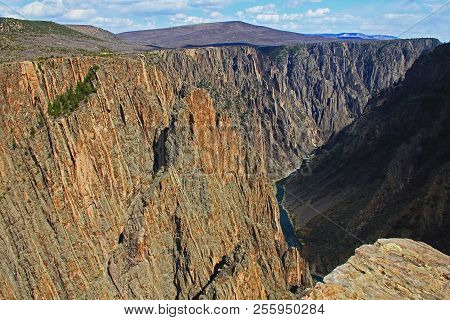 Black Shadow Copy Space In Black Canyon Of The Gunnison National Park And Recreation Area At Pulpit