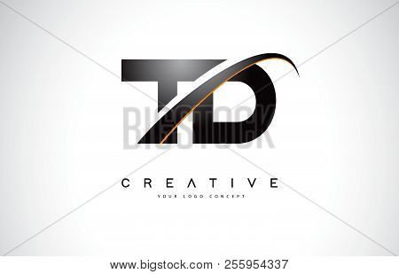 Td T D Swoosh Letter Logo Design With Modern Yellow Swoosh Curved Lines Vector Illustration.
