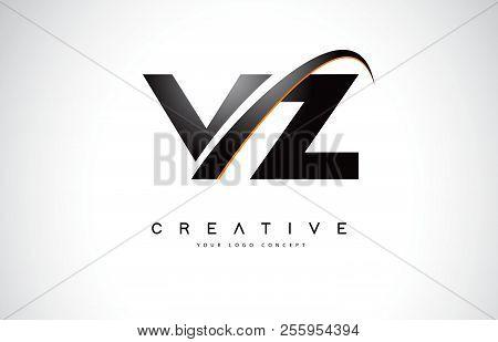 Vz V Z Swoosh Letter Logo Design With Modern Yellow Swoosh Curved Lines Vector Illustration.