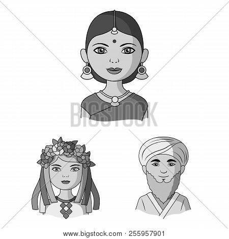 The Human Race Monochrome Icons In Set Collection For Design. People And Nationality Vector Symbol S