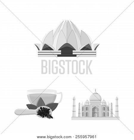 Country India Monochrome Icons In Set Collection For Design.india And Landmark Vector Symbol Stock W