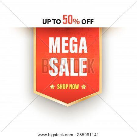 Mega Sale Banner Vector Illustration.