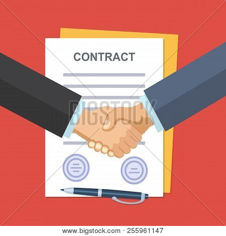 Business Partner Handshake Deal Contract Meeting. Background For Business And Finance. Modern Flat D