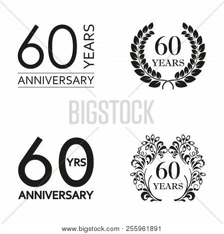 60 Years Anniversary Set. Anniversary Icon Emblem Or Label Collection. 60 Years Celebration And Cong