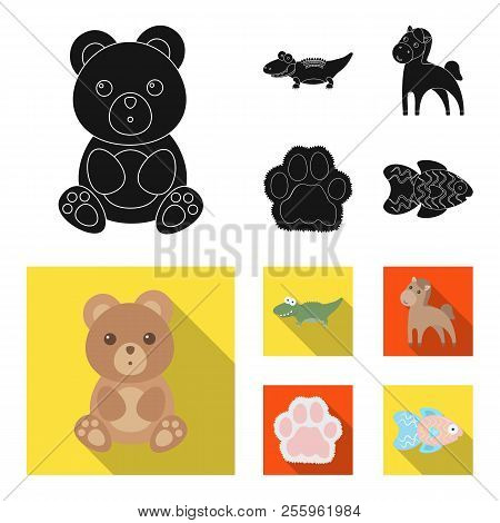 An Unrealistic Black, Flat Animal Icons In Set Collection For Design. Toy Animals Vector Symbol Stoc