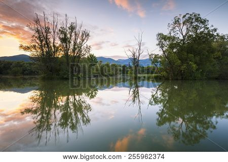 Vah River Ner Town Of Martin In The North Of Central Slovakia.