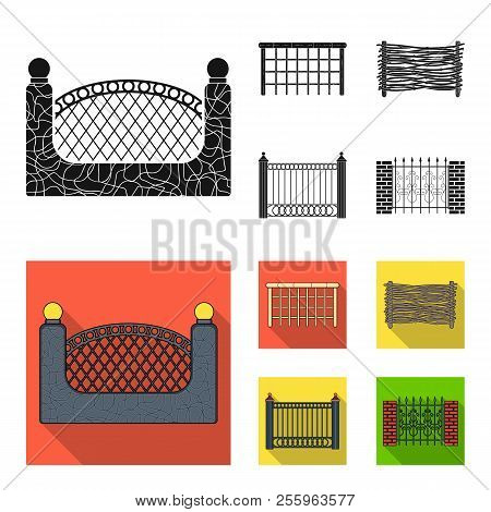 A Fence Of Metal And Bricks, Wooden Palisade. A Different Fence Set Collection Icons In Black, Flat