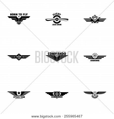 Avian Emblem Icons Set. Simple Set Of 9 Avian Emblem Icons For Web Isolated On White Background