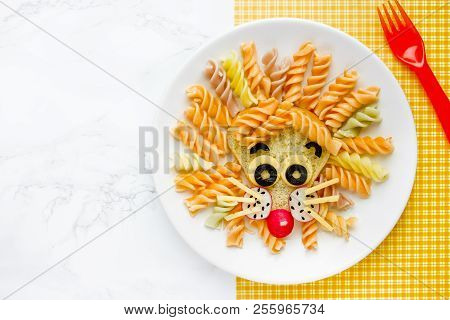 Lion Pasta - Fun Food Idea For Kids Lunch, Animal Shaped Food Art. Colorful Fusilli Vegetables Pasta