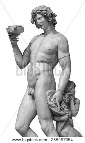 Dionysus Bacchus Wine statue portrait isolated on white