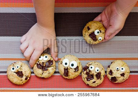 Halloween Cookie, Chocolate American Cookies With Candy Eyes And Chocolate Chips, Halloween Treats F
