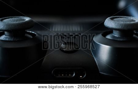 Close-up of black video games gaming controller