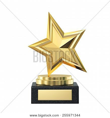 Gold Star Trophy Award Isolated On White. 3d Rendering With Clipping Path