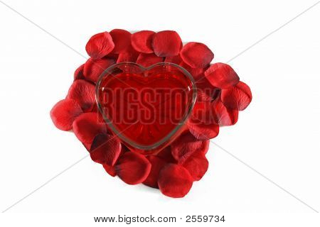 Glass Heart And Rose Petals