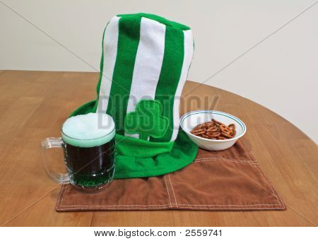 Saint Patricks Day Hat Glass And Pretzils