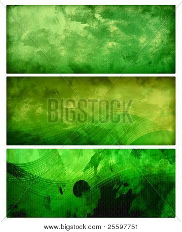 three green abstract grunge banners