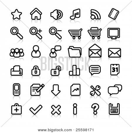 simple black and white web icons with reflection