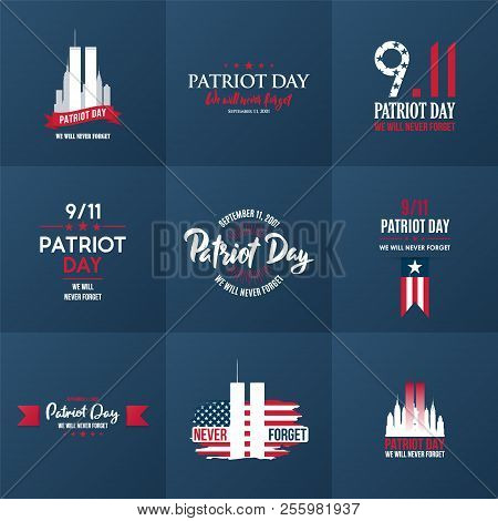 Patriot Day Design Template Collection. September 11. 2001. Poster, Cards, Banners And Vector Clipar