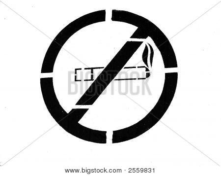Painted Black No Smoking Sign