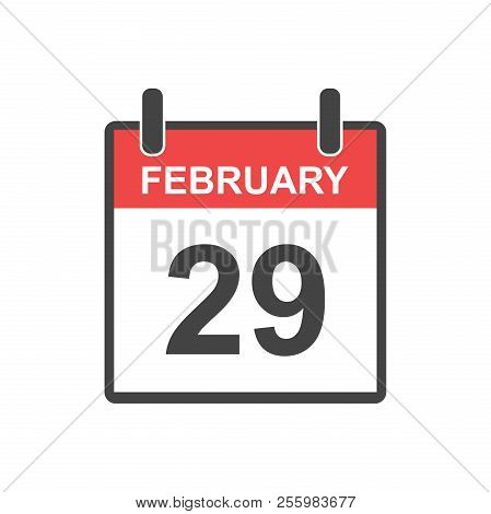 February 29 Calendar Icon. Leap Day, Vector Illustration In Flat