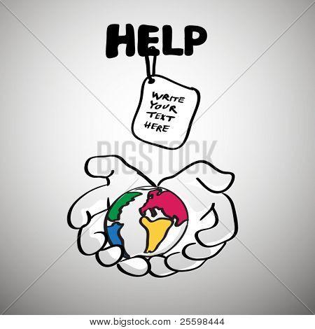 Hilfe symbol humanitäre Hilfe / Erde Schutzkonzept