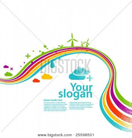 rainbow ecology - vector background