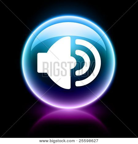 neon glossy web icon - speaker poster