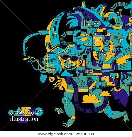 creative funky illustration